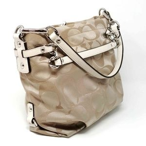 Coach Brooke Khaki/White Sateen Handbag F17183